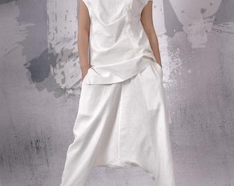 White long linen pants, loose oriental pants, extravagant pants, harem pants, trousers, loose pants, oriental pants - FP-055-LN