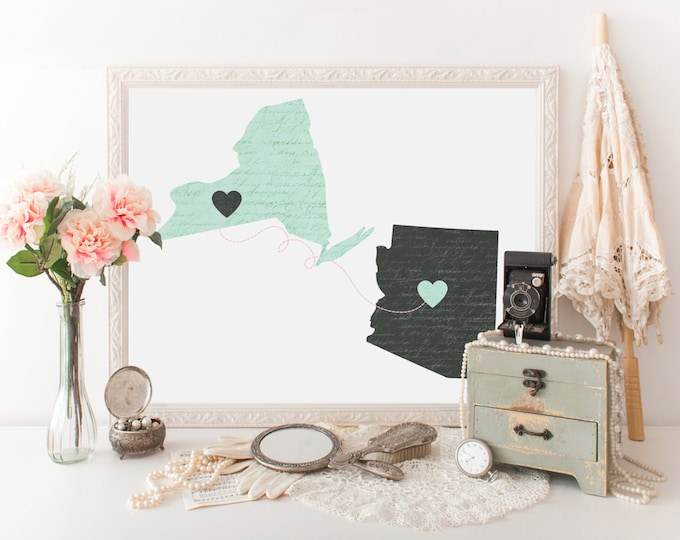PERSONALIZED STATE to State Digital Art Print Long Distance Couple or Family 2 USA States Love Art Modern Wedding Gift Two States Connection