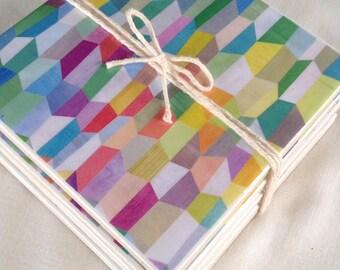 Ceramic Tile Coasters - set of 6 Retro Style