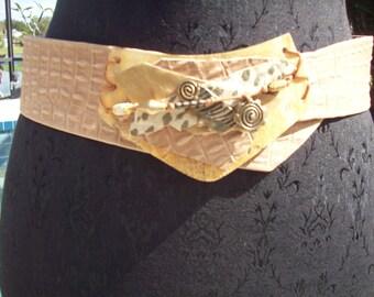 Mixed Media Collage Leather Belt by Nina Gelardi