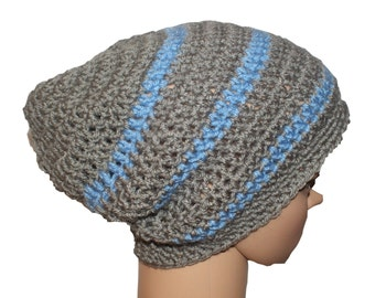 Snowboard Hat, Blue Slouch Hat, Slouchy Gaming Hat, Slacker Hat, Stripe Cap, Skater Hat, Board Hat, Gray Blue Hat, Hipster Hat, Slouchy Cap