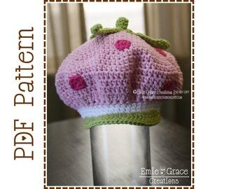 Crochet Strawberry Hat Pattern, Shortcake Newsboy, STRAWBERRY CAKE - pdf 219