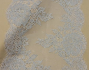 Silver lace trim French Lace Chantilly Lace Bridal lace Wedding Lace White Lace Veil lace Scalloped Floral lace Lingerie Lace yard L91024_4