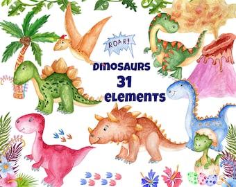 "Watercolor Dinosaur Clipart: ""CUTE DINOSAUR"" Kids clipart dinosaur party invites Dino clipart  Invitation clipart T Rex Prehistoric Animal"