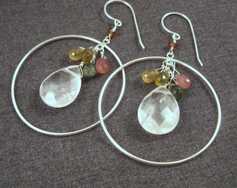Quartz Hoop Earrings with Tourmaline Cluster in Silver