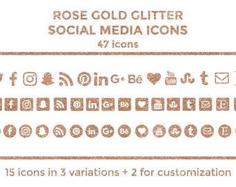 Rose Gold Social Media Icons Buttons Website Icons Rose Gold Glitter Blog Icons Rose Gold Social Media Icons Graphics Twitter