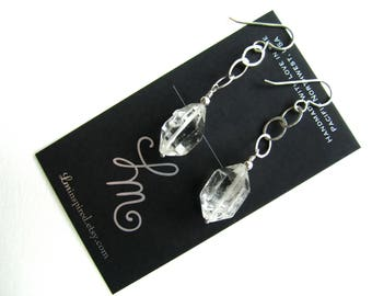 Double Terminated Crystal Quartz Hammered Sterling Silver Link Earrings by LM-inspired