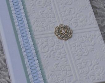 Wedding Photo album, wedding gift, 8x10, Hand-Beaded Medallion, white and aqua, corset style lace, Hand-made Album, Photo book, album