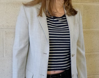 designer suit jacket, Helmut Lang grey wool blazer, grey blazer, fitted jacket, ladies jacket, grey, designer clothing, womens jacket, wool