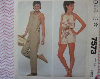 vintage 1980s simplicity sewing pattern 7573 misses jumpsuit in two lengths size 6-8 petite