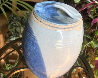 Speckled Blue & Clear Ceramic Jar