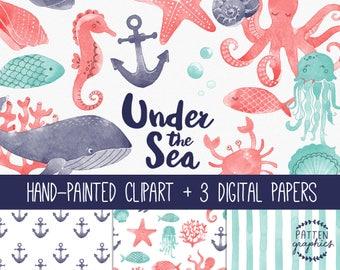 Watercolor Sea Animals Clipart, under the sea clipart, sea life, underwater, nautical, ocean life, sea creatures, whale, fish, jellyfish