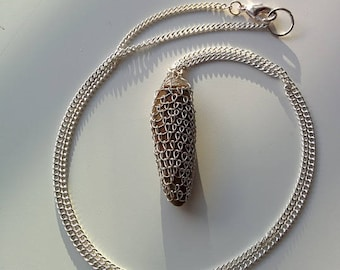 stone fang pendant wrapped with silver/colorado provence
