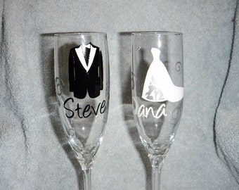 Set of 2 Toasting Tux and cutout Dress glasses