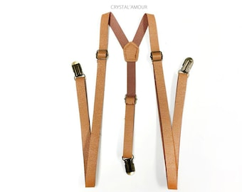 Men's Suspenders, Tan Leather Suspenders, camel brown suspenders, skinny suspenders, Mens suspenders, Barnyard Wedding, Groomsmen, TAN