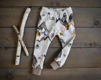baby leggings mountain neutral, gray mountain toddler pants, baby pants mountains, mountains baby pants, grey mountain infant pants