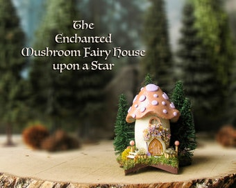 Mushroom Fairy House Upon a Star - Miniature Pearl Peach Capped House with Lilac Spots and Pine Trees, Fairy Door, Bench and Flowerbox