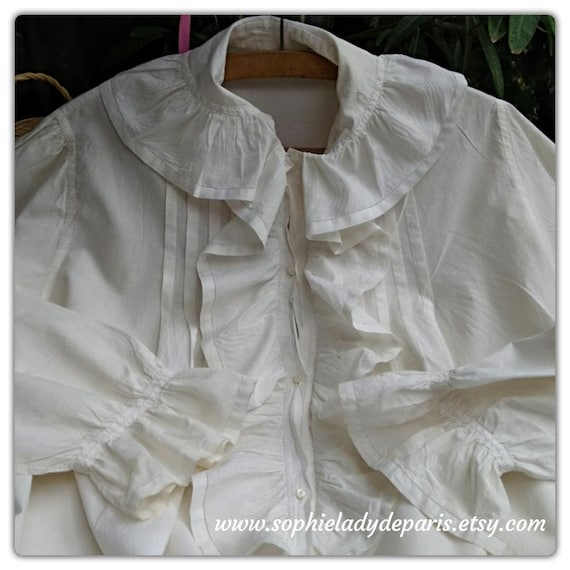 Victorian Cotton Blouse Tiered Front French Handmade Monogrammed Collar Long Sleeves Women Shirt Large/ XL #sophieladydeparis