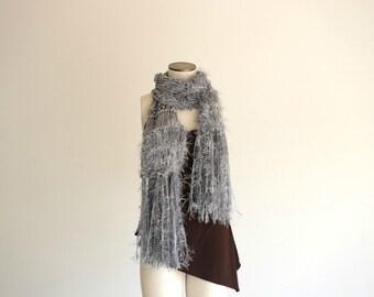 Long Grey Scarf Knit Scarf Grey Scarves for Women Grey Winter Scarf Fringe Soft Grey Scarf Silvery Grey Knit Accessories Chunky Knit Scarf