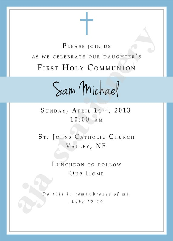 1st Communion Invitation Boy Blue with Simple Cross UPrint