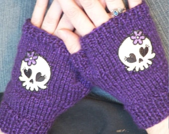 Girly Skull Hand Knit Fingerless Gloves