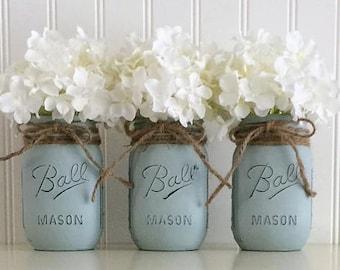 Mason jar wedding etsy painted mason jars wedding centerpiece blue mason jars mason jar wedding decor junglespirit Image collections