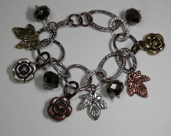 """7"""" Wide Leaves & Flowers Charm Bracelet Chain Links Faceted Czech Beads Antiqued Leaf Gold Silver Copper Tone Metal Ladies Fashion Gift Idea"""
