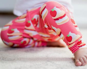 Handmade Baby Leggings - Strawberry Shortcake Leggings - Strawberry Shortcake Baby Leggings - Baby Girl Leggings - Strawberry Shortcake