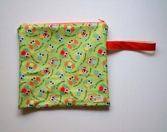 Handmade Wet Bag Waterproof Zippered Wet Bag Cute Owl Orange Green Print - Diaper Bag  PUL Fabrics