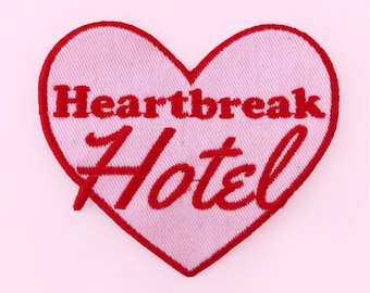 Pink heart break hotel iron on patch