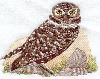 Burrowing Owl Embroidered Flour Sack Hand/Dish Towel