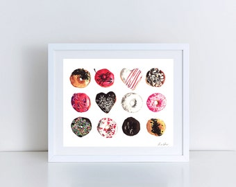 Donut Art Donut Painting Assorted Donuts  Print of Watercolor Pink Sprinkles Heart Doughnut Valentines Day Gift for Her Donut Bar Sign