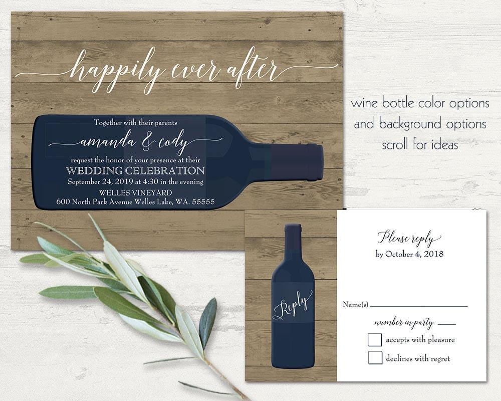 Vineyard Wedding Invitations Rustic Wine Country Wedding Color