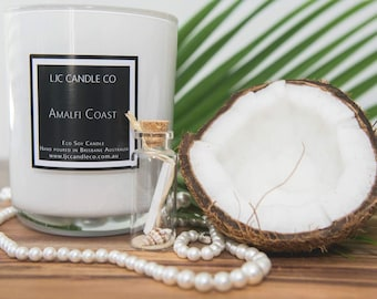 Large AMALFI COAST Soy Candle. 90 Hour burn time. Hand-poured.