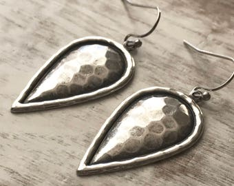 Silver Teardrop Earrings, Silver Hammered Earrings, Silver Drop Earrings, Silver Dangle Earrings, Tear Drop Earrings