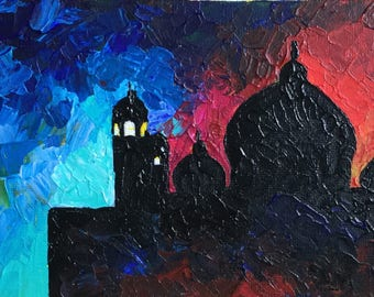 "Mosque at Dusk - Acrylic painting 7""x5"""