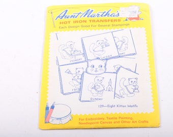 Days of The Week, Cats, 1960s Aunt Martha's, Hot Iron Transfers, Embroidery, Arts, Crafts, Eight Kitten Motifs ~ The Pink Room ~ 170101