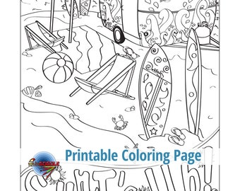 Surfs Up Adult Coloring Page Beach Seaside Tropical Surf Boards Sand Sea Ocean Vintage Retro Sunny Days Vacation Doodle Relax