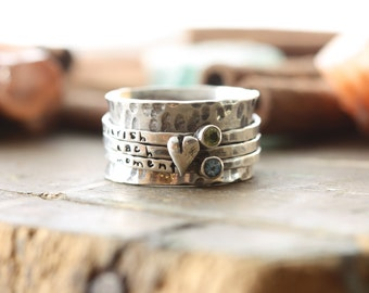 Heart and stone spinner ring hand stamped Birthstone sterling silver spinner ring mothers ring- worry ring-