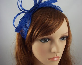 Royal Cobalt Blue Sinamay Loop & Leaf Fascinator with Feathers - Occasion Wedding Races