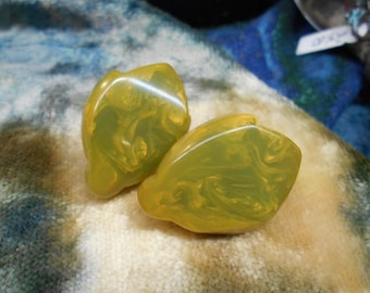 Marbled Green Yellow Bakelite Earrings