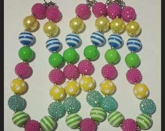 Multi color spring chunky necklace