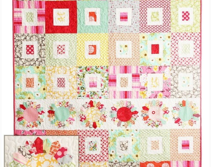 """Sugar Dish Quilt Pattern #118 by Cluck Cluck Sew - Jelly Roll Pattern - 48"""" x 59"""" - Dresden Plate Quilt (W742)"""