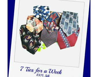 lot necktie - Vintage men's tie, 7 days a week ties, silk necktie,  office tie,  necktie,    # 99