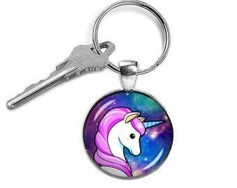 Unicorn Keychain Unicorn Keyfob Unicorn Keyring Kawaii Keyring