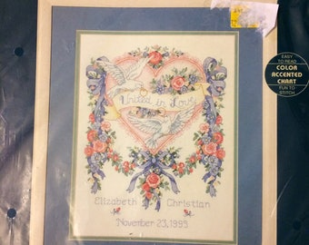 Sunset Counted Cross Stitch Golden Rings Wedding Record  Embroidery  Kit No.13580