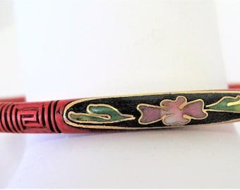 Cinnabar Cloisonne Bangle, Carved Cinnabar, Highlighted by Cloisonne, Vintage Bracelet