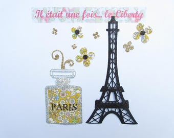 Applied fusible Eiffel Tower & liberty perfume bottle June Meadow yellow + flex glitter applied liberty patterns collection