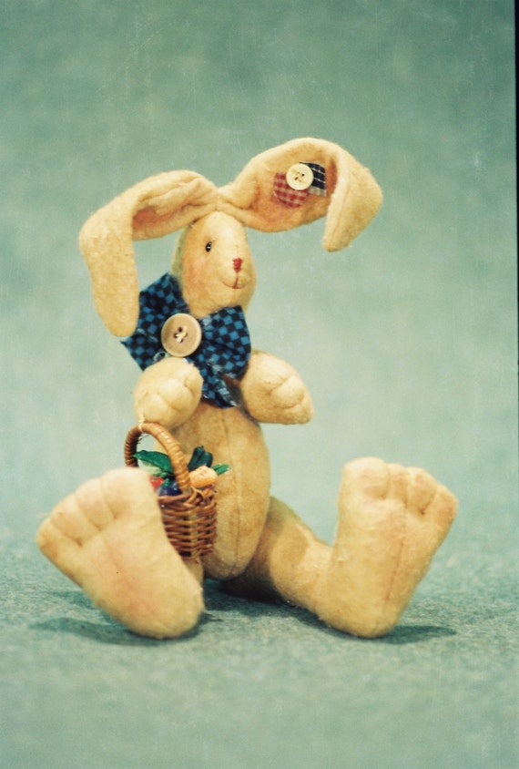 Nathaniel - Mailed Cloth Doll Pattern  Cute little 11in sitting Bunny Rabbit