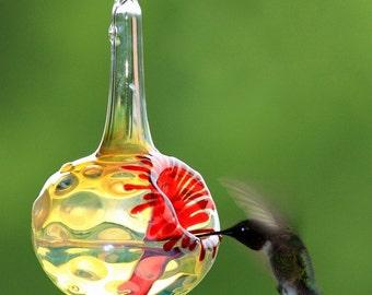 SH- Hummingbird Feeder, The Kennedy Style Hummingbird Feeder, The Original One Piece Drip-less Hummingbird Feeder/Silver Hobnail